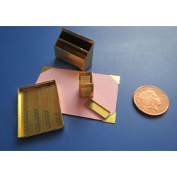 5 Piece Brass Desk Set with Pink Blotting Paper