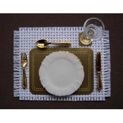 White Setting Place Mat and Coaster