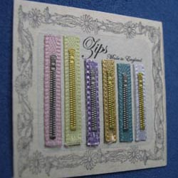 Zips on Display card...Pale Colours