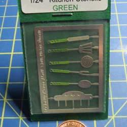1/24th Scale  kitchen Utensils Kit - Green Handles