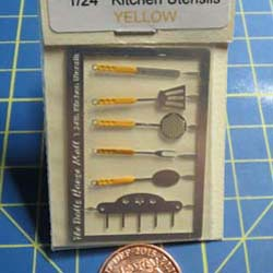 1/24th Scale  kitchen Utensils Kit. - Yellow Handles