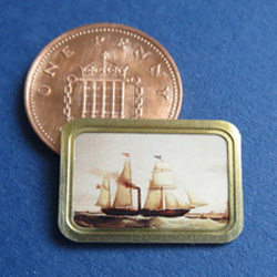 1/24th Scale Sailing Ship in Landscape Brass Frame