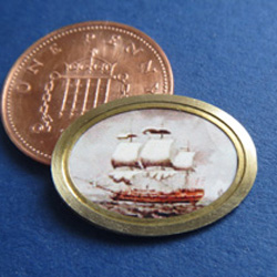 1/24th Scale Sailing Ship in Oval Brass Frame