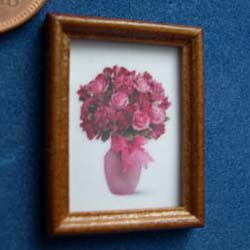 Pink Flowers in a Wooden frame