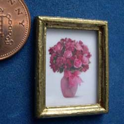 Pink Flowers in a Guilded Frame