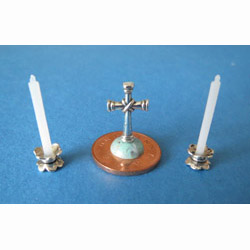 Cross with 2 White Candles in Holders