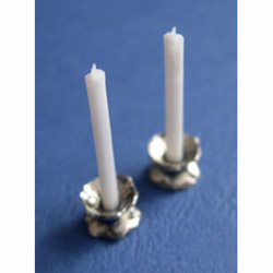 2 Candle Holders with White Candles