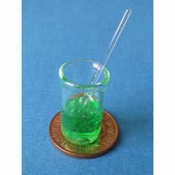 Green filled Glass Lab Beaker with Stiring Rod