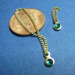 Gold Necklace and Bracelet with Green Pendant