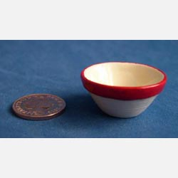 Red Rimmed Mixing Bowl