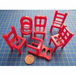 6 Red Assorted Chidrens Chairs
