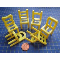 6 Yellow Assorted Childrens Chairs