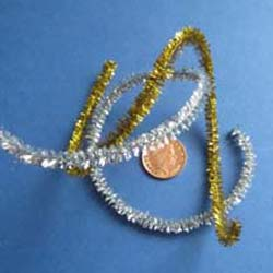 "2 Pieces of Wired Tinsel 12"" Long - Silver & Gold"