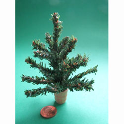 "Chunky Christmas Tree.... 4.5"" in a Wooden Pot"